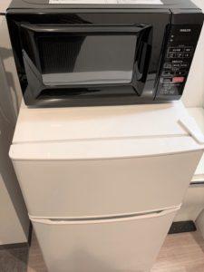 Osaka Hotel fridge & microwave in the room
